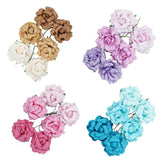 Handmade Paper Open Rose Embellishments, 1-1/2-Inch, 6-Count