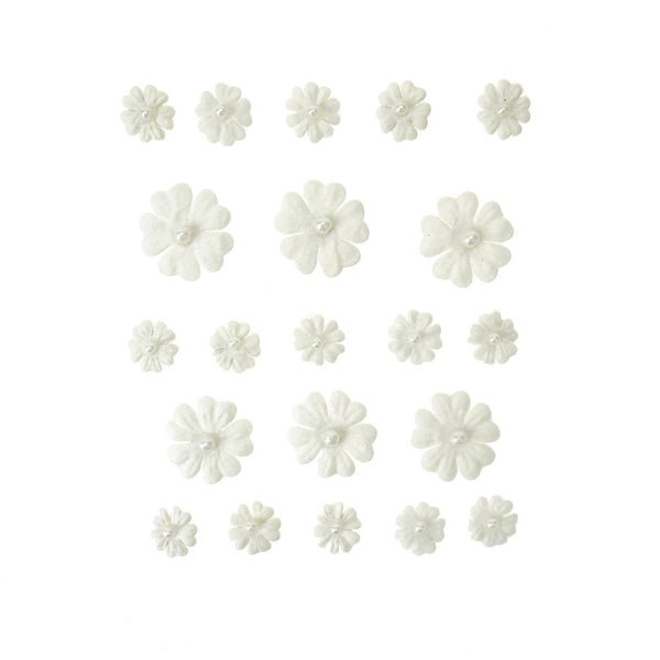 Mini Handmade Paper Floral Embellishments, 21-Piece, White