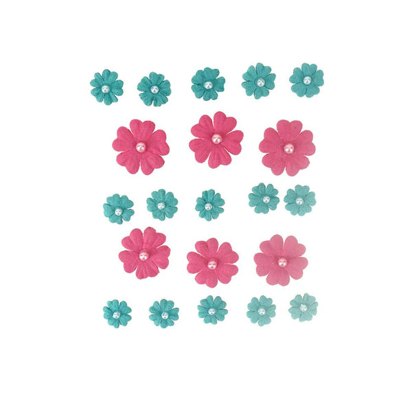 Mini Handmade Paper Floral Embellishments, 21-Piece