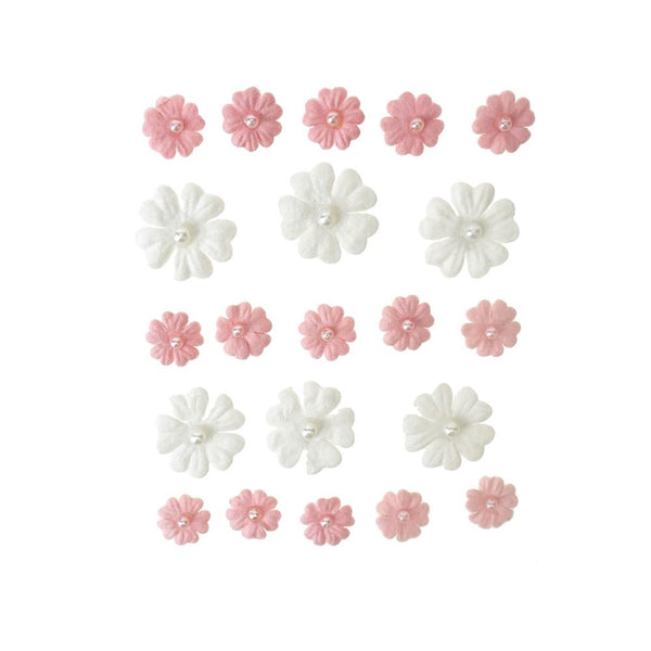 Mini Handmade Paper Floral Embellishments, 21-Piece, Sweetheart