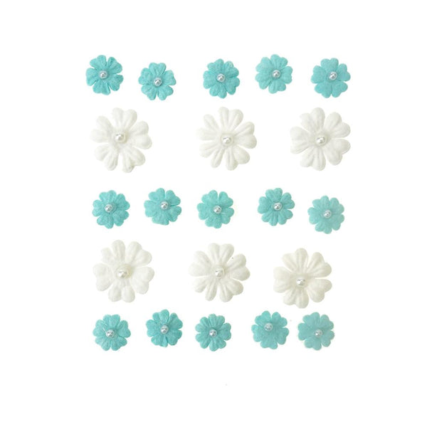 Mini Handmade Paper Floral Embellishments, 21-Piece, Sky