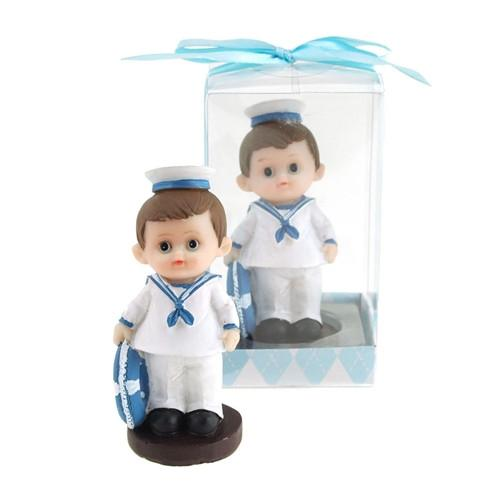 12-Pack, Baby Sailor Outfit Polyresin Favors, 3-1/4-Inch, Light Blue
