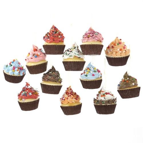 12-Pack, Cupcake with Frosting Foam Ornaments, 2-3/4-Inch, 12-Piece