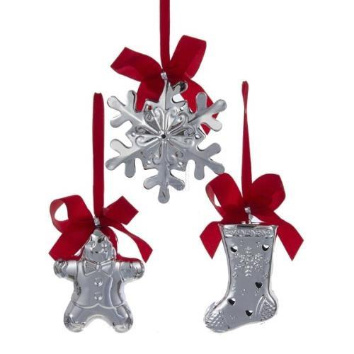 12-Pack, Set of 3 Gingerbread Snowflake Stocking Bell Hanging Plastic Ornaments, Silver, 4-Inch