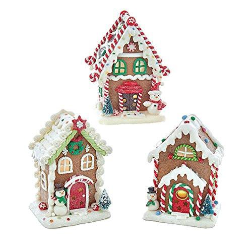 12-Pack, Set of 3 Gingerbread LED House Ornaments, Brown, 5-1/2-Inch