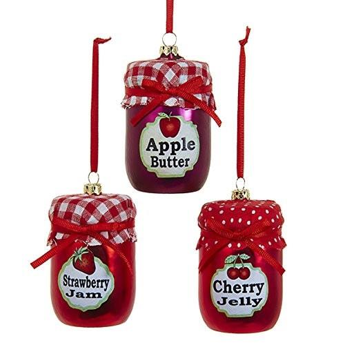 12-Pack, Fruit Jam Jar Glass Ornament, Red, 3-Inch, 3-Piece