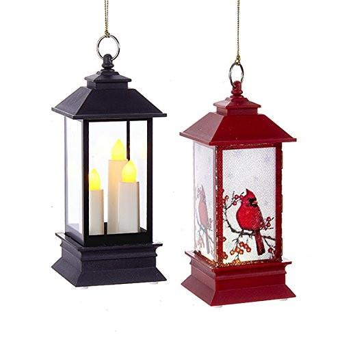 LED Lantern Plastic Ornaments, 5-1/4-Inch, 2-Piece