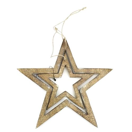 12-Pack, Star Tree Topper Wooden Ornament, 5-1/2-Inch, 2-Piece