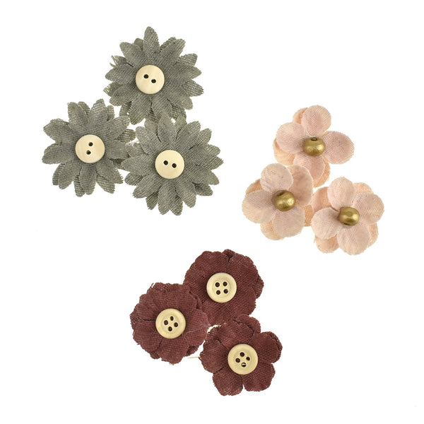 12-Pack, Adhesive Canvas Burlap Flower with Center Button and Bead, Assorted Sizes, 9-Piece