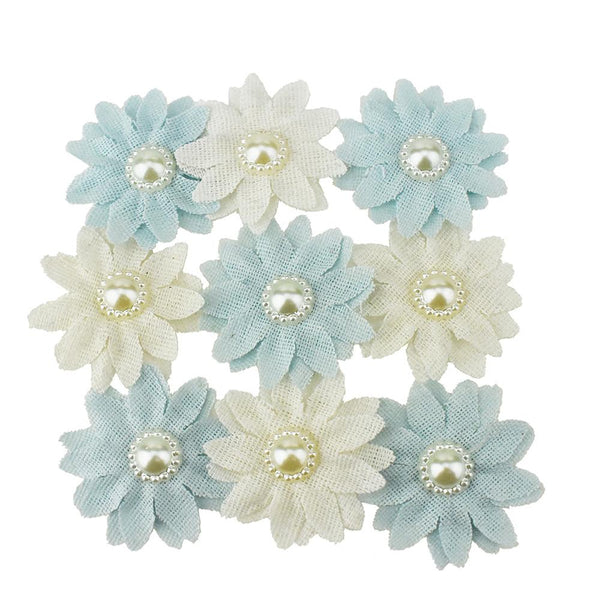 Canvas Flower Pearl Embellishment, Blue,1-1/2-Inch, 9-Count