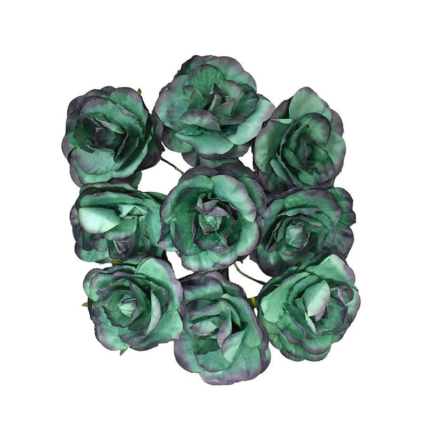 Paper Rose Flower Embellishments, 1-1/2-Inch, 9-Count, Teal/Dark Purple
