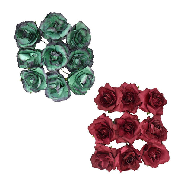 12-Pack, Paper Rose Flower Embellishments, 1-1/2-Inch, 9-Count