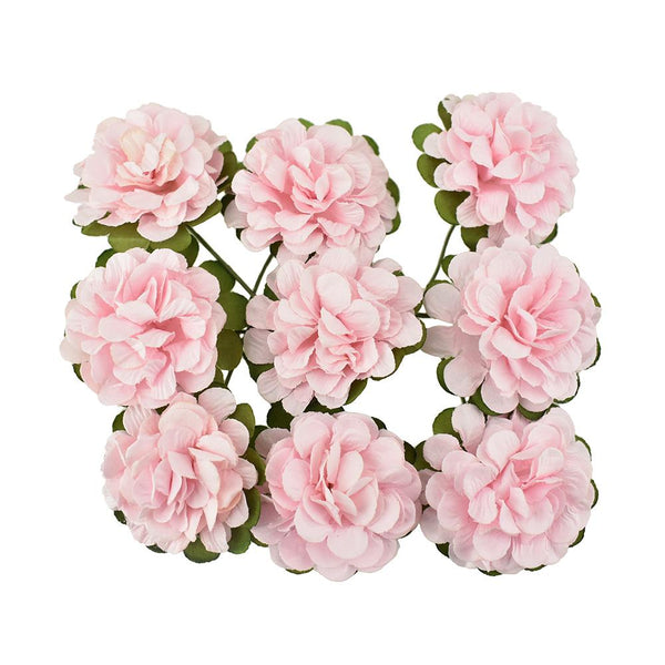 12-Pack, Paper Flower Embellishments, Pink, 1-1/2-Inch, 9-Count
