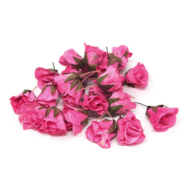 12 Pack, Artificial Decorative Loose Roses, Pink, 1-Inch, 24-Count