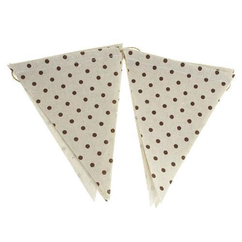 12-Pack, Polka Dot Burlap Triangle Banner, Chocolate, 6-Inch x 8-Inch, 6-Piece