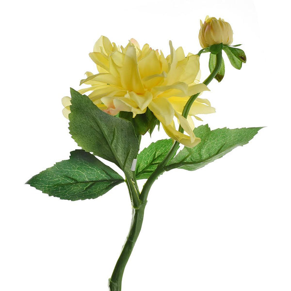 Artificial Dahlia Spray, Yellow, 13-Inch