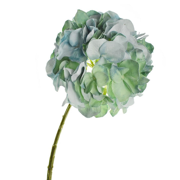 Artificial Hydrangea Spray, Aqua/Green, 21-Inch