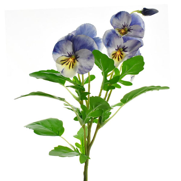 Artificial Pansy Spray, Blue, 16-1/2-Inch
