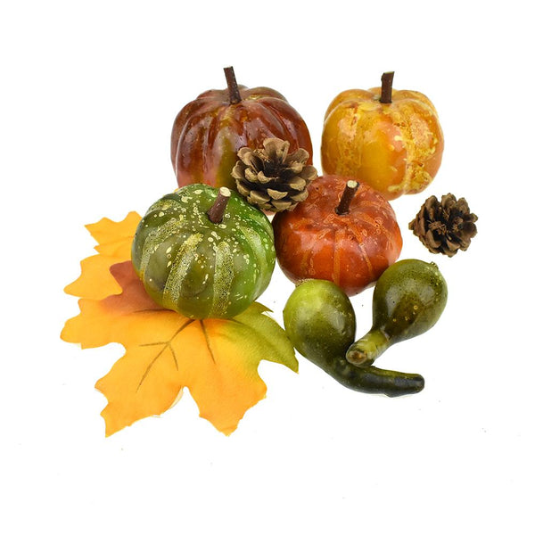 Artificial Bagged Pumpkin and Gourds, Assorted Sizes, 7-Piece