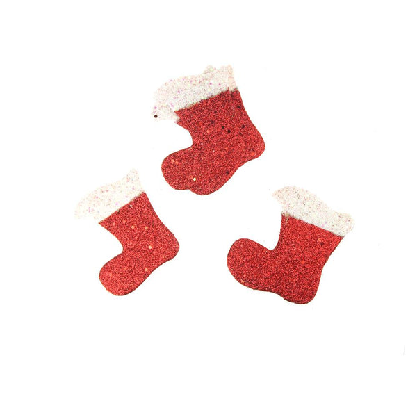 12 Pack, Christmas Styrofoam Stocking Cut Out Red Glitter, 3-1/2-Inch, 12 Count