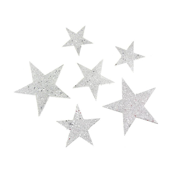 12 Pack, Christmas Styrofoam Stars Cut Out Silver Glitter, 6 Count