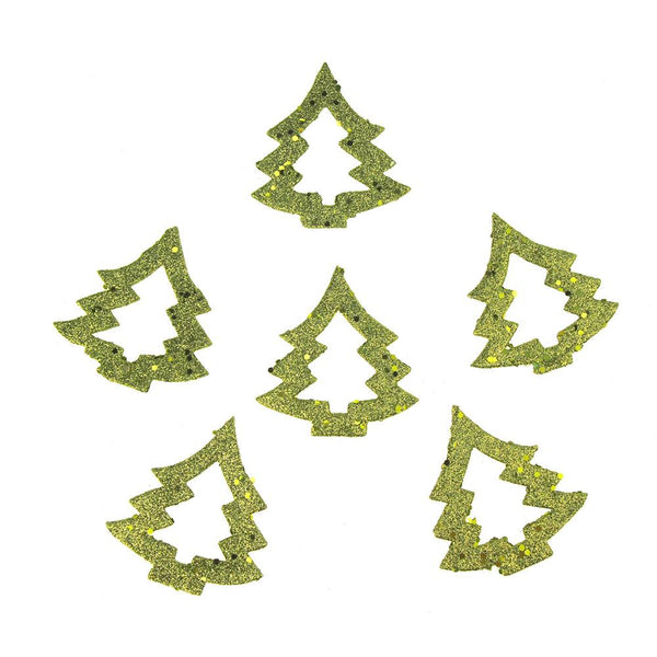 12-Pack, Glittery Green Christmas Holiday Foam Tree Decorations, 3-Inch, 6-Count