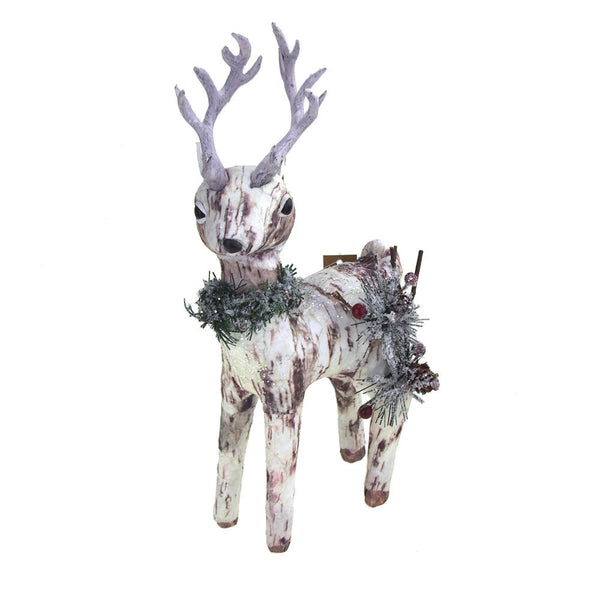 Small Paper Birch Christmas Deer Decoration, 11-1/2-Inch x 5-1/2-Inch