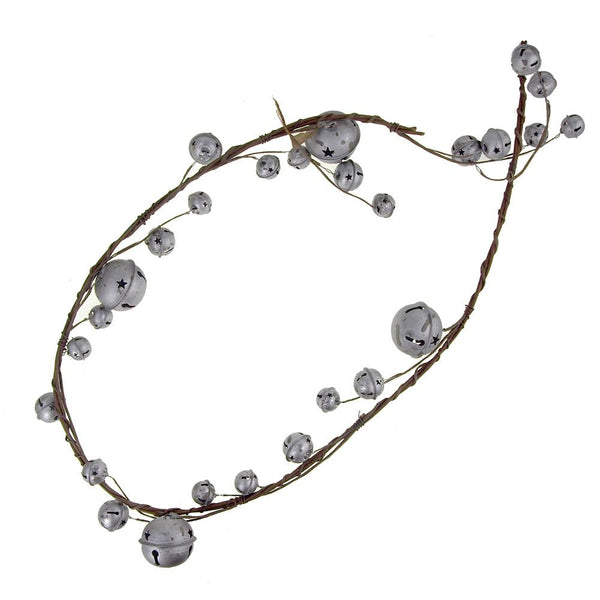 Christmas Jingle Bell Branch Garland, Galvanized Gray, 54-Inch