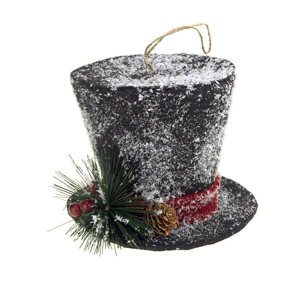 Christmas Top Hat.12 Pack Black Hanging Top Hat With Snow Christmas Decoration 5 Inch