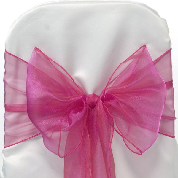 12-Pack, Organza Chair Bow Sash, 9-inch, 10-feet, 6-piece, Fuchsia