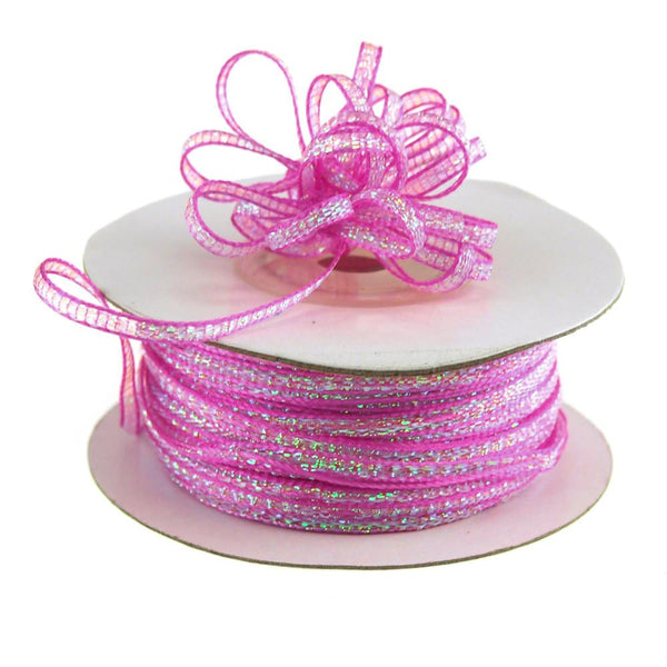 Iridescent Pull Bow Christmas Ribbon, 1/8-Inch, 50 Yards, Fuchsia