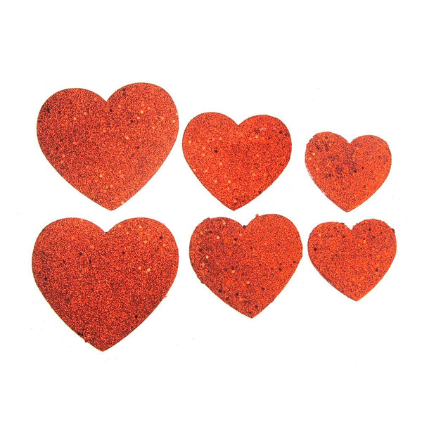 12 Pack, Christmas Styrofoam Heart Cut Out Red Glitter, 6 Count