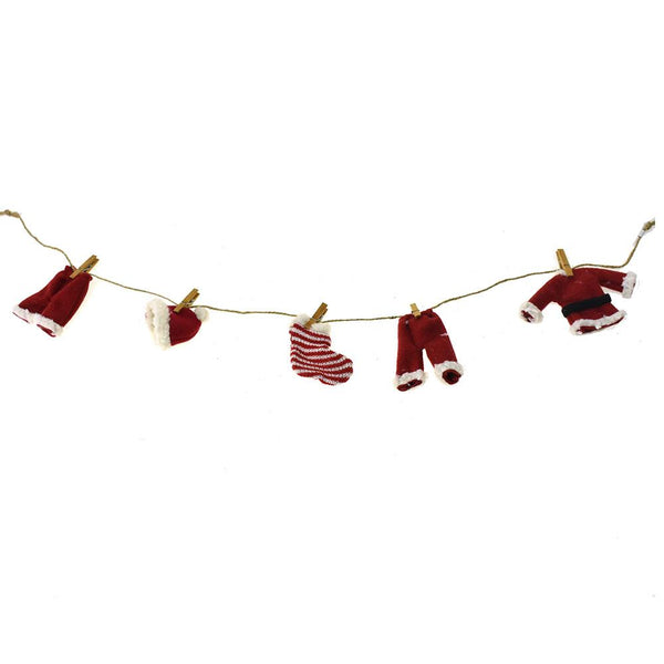 Cloth Santa Suit Novelty Garland, Red, 32-Inch
