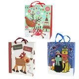 12-Pack, Christmas Reindeer and Pets Glitter 3D Gift Bags, Set of 3, 12-1/2-Inch