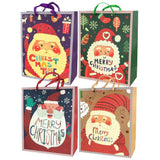 12-Pack, Christmas Santa Glitter Gift Bags, Set of 4, 12-1/2-Inch