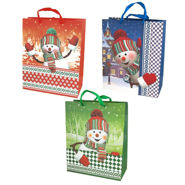 12-Pack, Christmas Snowman Glitter Gift Bags, Set of 3, 12-1/2-Inch