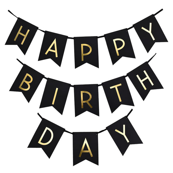 Gold Foil 'Happy Birthday' Bunting Banner, Black, 8-Inch, 16-Feet
