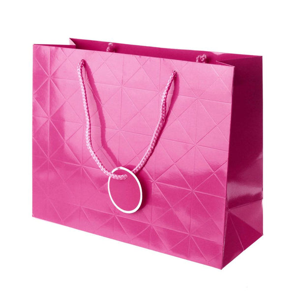 Glossy Checkered Paper Gift Bags, 10-Inch, Pink