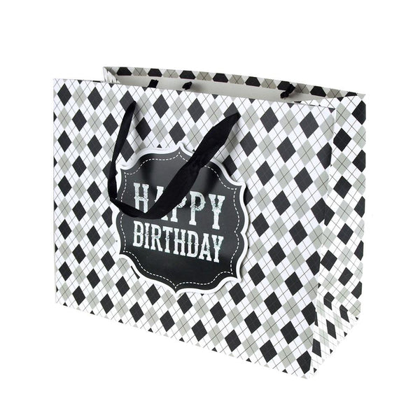 Argyle Checkered Desgin Paper Gift Bags, Black, 10-Inch