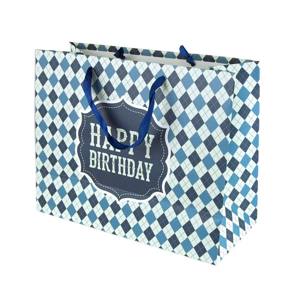 Argyle Checkered Desgin Paper Gift Bags, Blue, 10-Inch