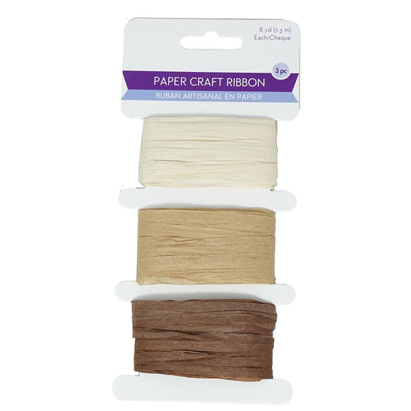 Paper Raffia Ribbon Craft Medley, 1/4-Inch,  8-Yard, 3-Piece, Earth Tones