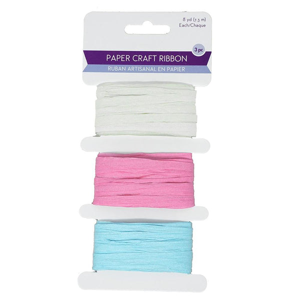 Paper Raffia Ribbon Craft Medley, 1/4-Inch,  8-Yard, 3-Piece, Pastels