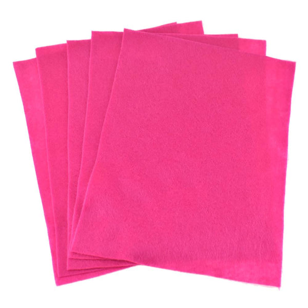 Premium Craft Felt Sheets, 8-1/2-Inch x 11-Inch, 5-Count, Hot Pink
