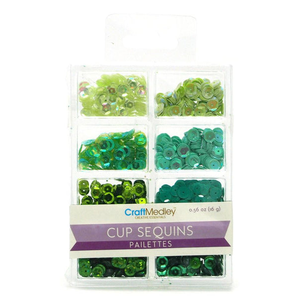 12-Pack, Loose Cup Sequins Pailettes, Green, 6mm, 16-gram