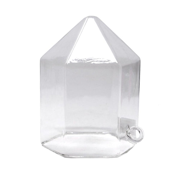 Clear Acrylic Glass Geometric Hanging Terrarium, 6-Inch