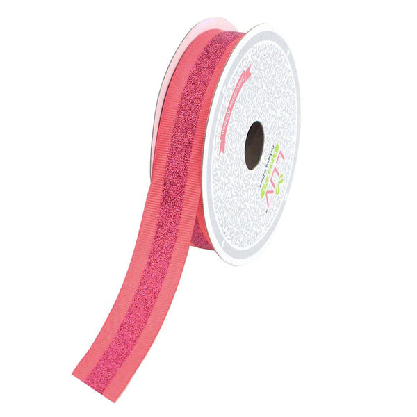 12-Pack, Glitter Center Grosgrain Ribbon, 7/8-Inch, 10 Yards, Coral