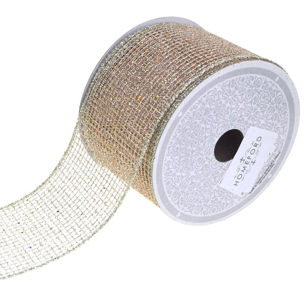 Glitter Netting Mesh Ribbon, 2-1/2-Inch, 10 Yards, Champagne