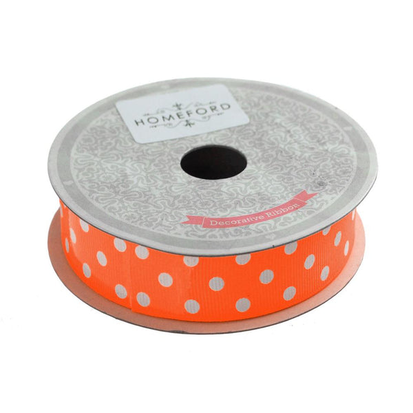 Polka Dot Grosgrain Ribbon, 7/8-Inch, 10 Yards, Neon Orange