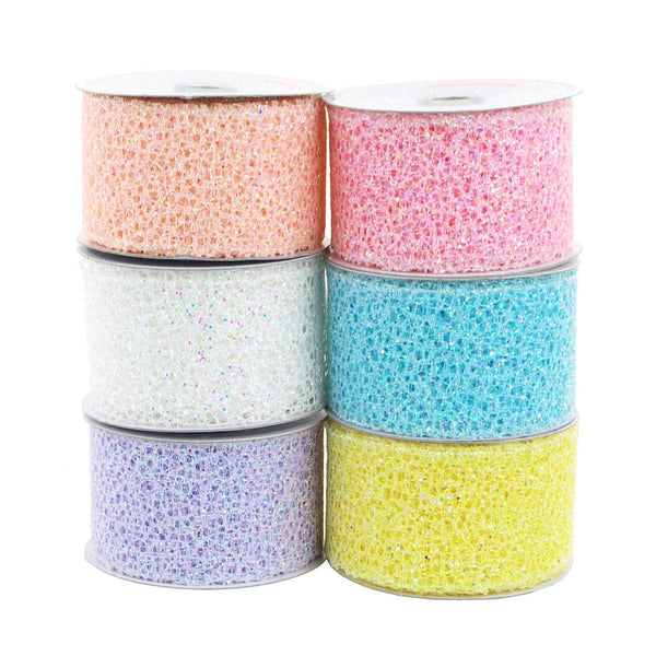 12-Pack, Glitter Web Mesh Ribbon, 2-Inch, 10 Yards
