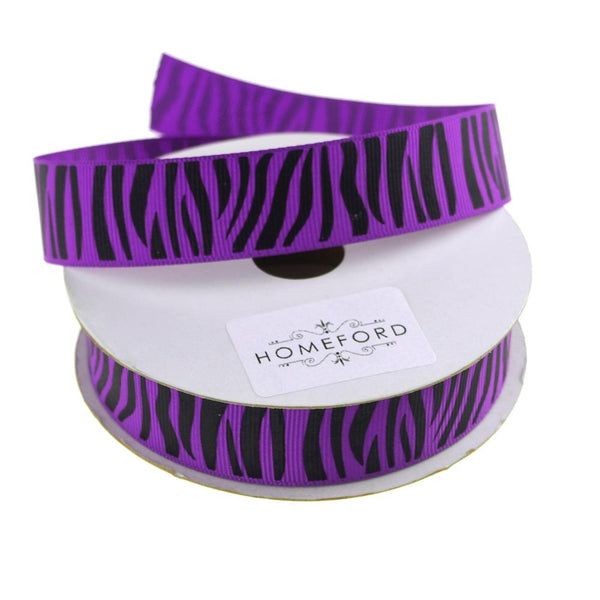 Zebra Print Grosgrain Ribbon, 7/8-Inch, 10 Yards, Purple